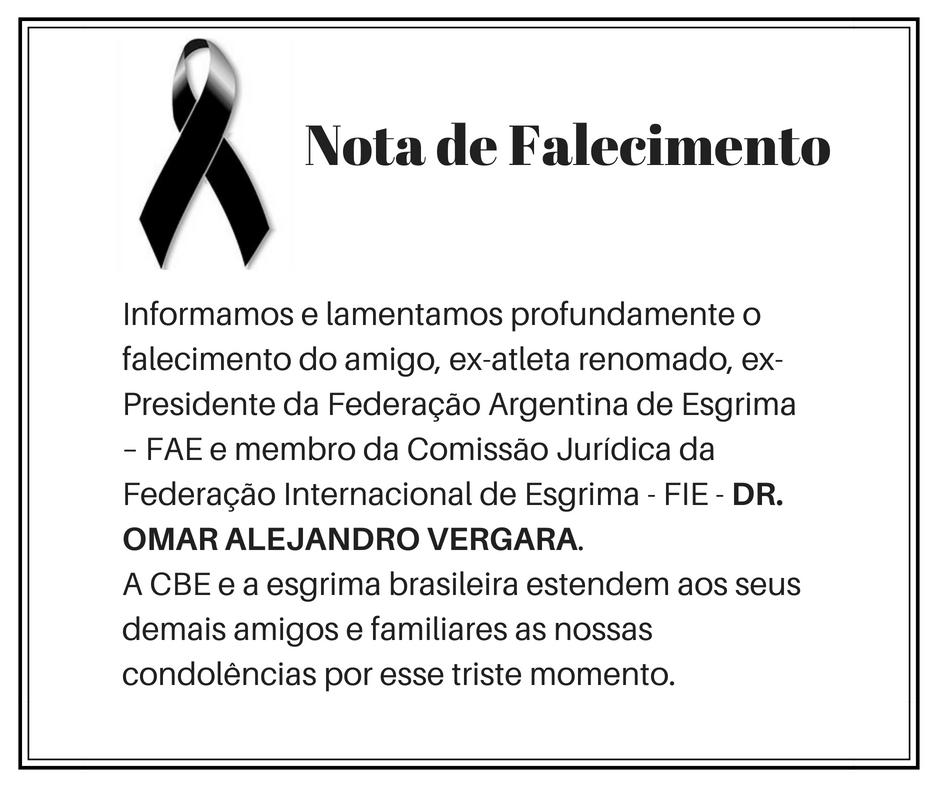 Falecimento do  Dr.  Omar Alejandro Vergara, Ex- presidente da Federação Argentina de Esgrima